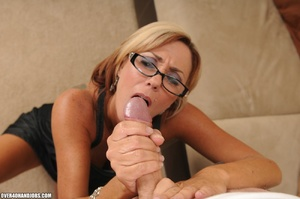 Blonde milf in a black dress and glasses - XXX Dessert - Picture 5