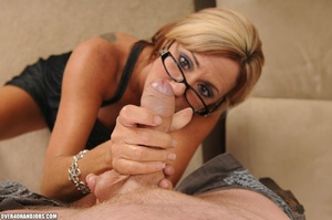Blonde milf in a black dress and glasses - XXX Dessert - Picture 6