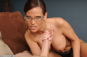 Dirty ponytailed mom in lasses is ready  - XXX Dessert - Picture 1