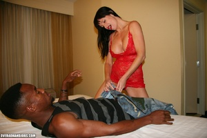 Busty brunette in a red dress is happy t - XXX Dessert - Picture 4