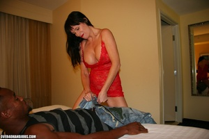 Busty brunette in a red dress is happy t - XXX Dessert - Picture 5