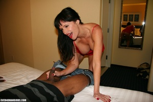 Busty brunette in a red dress is happy t - XXX Dessert - Picture 6