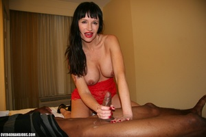 Busty brunette in a red dress is happy t - XXX Dessert - Picture 12