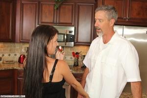 Curious brunette mom rubbing a thick man - XXX Dessert - Picture 3