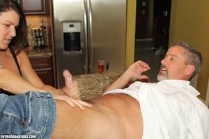 Curious brunette mom rubbing a thick man - XXX Dessert - Picture 5