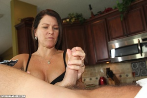 Curious brunette mom rubbing a thick man - XXX Dessert - Picture 6