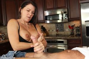 Curious brunette mom rubbing a thick man - XXX Dessert - Picture 7