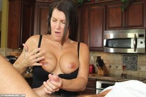 Curious brunette mom rubbing a thick man - XXX Dessert - Picture 11