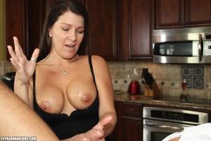 Curious brunette mom rubbing a thick man - XXX Dessert - Picture 12