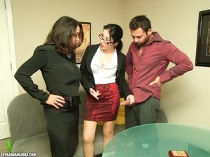 Two curious milfs find their boss mastur - XXX Dessert - Picture 6
