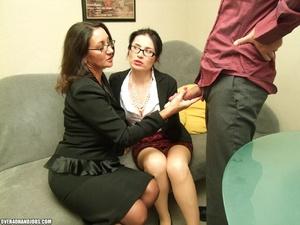 Two curious milfs find their boss mastur - XXX Dessert - Picture 8