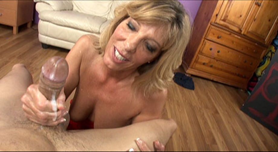 Mom milks sons cock