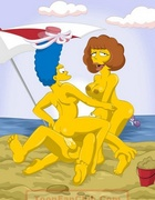 Hot Marge Simpson and her friend Maude Flanders fucking with Homer and