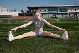 fair-haired busty athletic girl