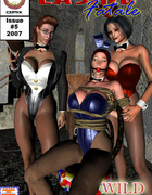 Lustful kinky mistress torturing her two enslaved girls in green suit