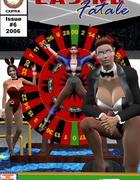Two kinky mistresses jeering hot naked girl in dirty 3d toon porn