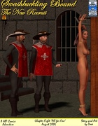 Two mousquetaires get high watching hot naked blonde dangling at the pole