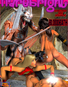 Two hot chicks with swords enslaved a cool dude punish him badly in a