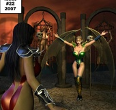 Mystic girl with wings adores punishing her slaves in awesome 3d adult