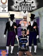 Busty mistress in a black and white suit and mask jeering her poor slave