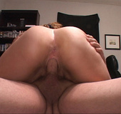 Ponytailed wavy milf with chubby ass jumping passionately on a stiff rod