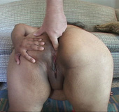 Curly chubby mom gagging with a dick when giving head