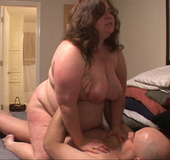 Curly fat bitch enjoys riding a stiff rod before dirty anal banging