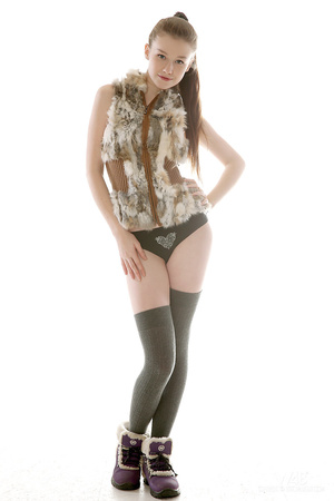 Ponytailed teen posing in stockings - XXX Dessert - Picture 1