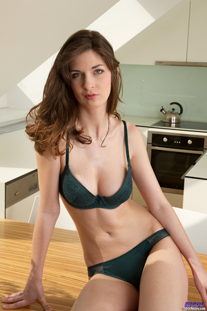 Brunette in lingerie posing in the kitch - XXX Dessert - Picture 1