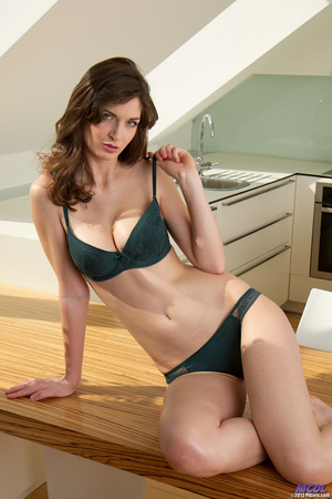 Brunette in lingerie posing in the kitch - XXX Dessert - Picture 2