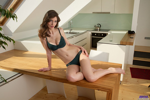 Brunette in lingerie posing in the kitch - XXX Dessert - Picture 8