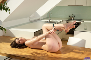 Brunette in lingerie posing in the kitch - XXX Dessert - Picture 11