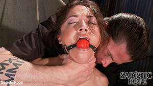 Ponytailed hogtied girl with a gag-ball  - XXX Dessert - Picture 4
