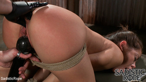 Ponytailed hogtied girl with a gag-ball  - XXX Dessert - Picture 10