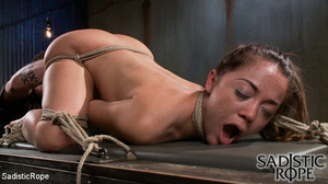 Ponytailed hogtied girl with a gag-ball  - XXX Dessert - Picture 11