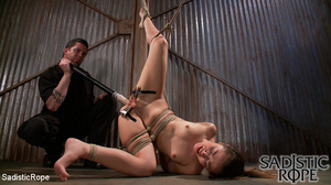 Ponytailed hogtied girl with a gag-ball  - XXX Dessert - Picture 15