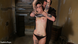 Helpless hogtied tattooed gal with a gag - XXX Dessert - Picture 3