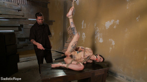 Helpless hogtied tattooed gal with a gag - XXX Dessert - Picture 8