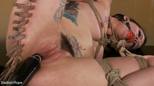 Helpless hogtied tattooed gal with a gag - XXX Dessert - Picture 9