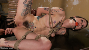 Helpless hogtied tattooed gal with a gag - XXX Dessert - Picture 10
