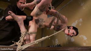 Helpless hogtied tattooed gal with a gag - XXX Dessert - Picture 11
