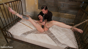 Helpless hogtied tattooed gal with a gag - XXX Dessert - Picture 15