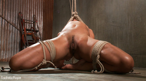 Hogtied ebony slut gets her pussy sadist - Picture 4