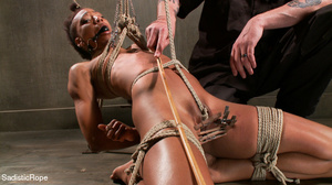 Hogtied ebony slut gets her pussy sadist - XXX Dessert - Picture 8