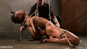 Hogtied ebony slut gets her pussy sadist - Picture 15