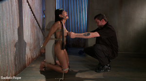 Brunette gal roped and suspended gets pu - XXX Dessert - Picture 4