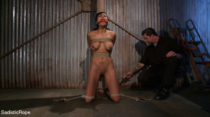 Brunette gal roped and suspended gets pu - XXX Dessert - Picture 5