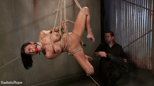 Brunette gal roped and suspended gets pu - XXX Dessert - Picture 10