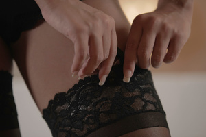 Bald dude fucking Gianna in black lace s - XXX Dessert - Picture 1