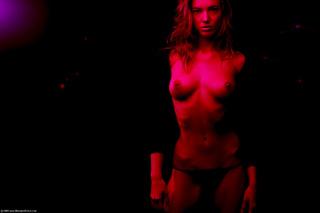 german model posing red
